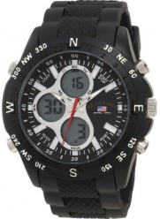 U.S. Polo Assn. Men's US9140 Black Rubber Strap Analog Digital Watch
