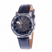 Mens Automatic Skeleton Wrist Watch Silver Dial Black Leather Strap Self Winding AMW-37