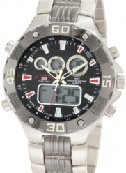 U.S. Polo Assn. Men's US8208EXL Analog-Digital Dial Extra Long Silver-Tone and Gun Metal Watch