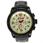 Carbon 14 Earth Chronograph Ivory Dial Leather Mens Watch E2.3