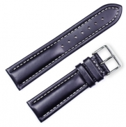 Breitling Style Oil Tanned Leather Watchband Black 16mm Watch band - by deBeer