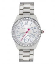 Betsey Johnson Silver Bling Bling Time Boyfriend Watch