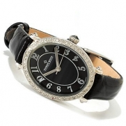 Diamant Rouge Women's Champ De Mars Quartz Diamond Accent Leather Strap Watch - Black