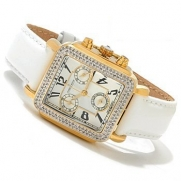 Diamant Rouge Women's Vendome Swiss Quartz Chronograph Diamond Accent Leather Strap Watch - White