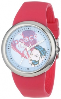PeaceLove Unisex F36S-PLPCBL-HP  Round Stainless Steel Hot Pink Silicone Strap and Zotos Art Dial Watch