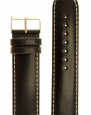 Men's Polished Italian Leather Watchband Black 24mm Watch Band - by JP Leatherworks