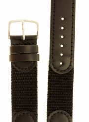 Men's Swiss Army Style Watchband - Color Black Size: 18mm Long Watch Band