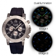 Tritium Tube Men's Circle Watch Primary Color: Silver / Black