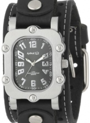 Nemesis Men's STH007K Signature Stainless Steel Black Dial Leather Cuff Watch