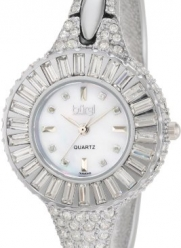 Burgi Women's BU40SS Round Diamond Crystal Silver-tone Bangle Quartz Watch