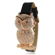 Bling Jewelry Geneva Womens Black Leather Style Rose Gold Plated Owl Watch