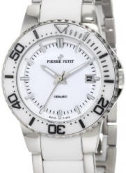 Pierre Petit Women's P-808B Serie Colmar Stainless-Steel and White Ceramic Bracelet Date Watch