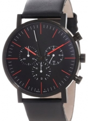 a.b. art Men's OC150 Series OC Black Stainless Steel Swiss Quartz Chrono Black Dial and Leather Strap Watch
