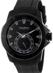 Haurex Italy Men's 3N503UNN Acros Black Ion-Plated Coated Stainless Steel Rubber Strap Watch