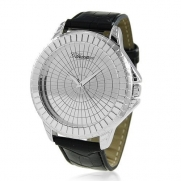 Bling Jewelry Geneva Stainless Back Black Leather Style Mens Watch Mirror Dial