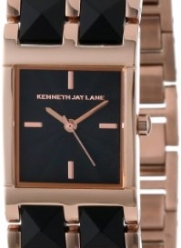 Kenneth Jay Lane Women's 1511 1500 Series Black Textured Dial Rose Gold Ion-Plated Stainless Steel & Black Resin Watch