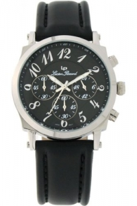 mens lucien piccard leather 24 hr chronograph