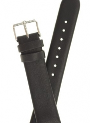 Mens Classic Glove Leather Watchband - Color Black - 20mm Width - Extra Long Watch band - by JP Leatherworks