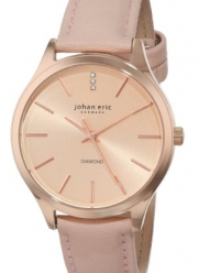Johan Eric Women's JE2200-09-001.9 Herlev Rose Gold Case and Peach Leather Watch with Diamond Accents