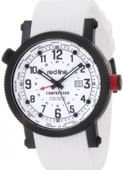 red line Men's RL-18003-BB-02BK-WH Compressor World Time White Dial White Silicone Watch