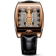Corum Golden Bridge 313.165.55/0002 GL10R 38mm Automatic 18K Gold Case Brown Leather Anti-Reflective Sapphire Women's Watch