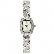 Elgin Ladies Silver-crystal Watch - Eg172 Silver Tone Rectangle Stone Case