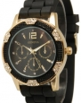 Women's Geneva Black with Gold Chronograph Silicone Rubber Jelly with CZ Crystal Rhinestones Face Bling Bezel