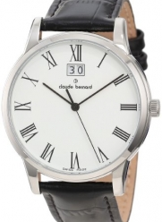 Claude Bernard Men's 63003 3 BR Classic Gents White Dial Black Leather Date Watch