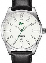Lacoste Montreal White Dial Black Leather Mens Watch 2010580
