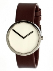 Issey Miyake Twelve 38mm Watch (White Dial; Leather Maroon Band; Silver Bezel;