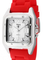 Trax Women's TR5132-WR Posh Square Red Rubber White Dial Watch