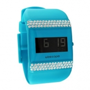 Wize & Ope Unisex All Over Strass Digital Watch WO-ALL-10S with Turquoise Dial and Touch Screen
