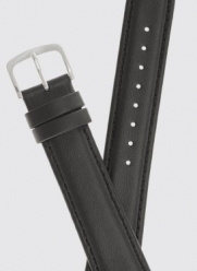Mens Padded Genuine Leather Watchband - Color Black - 24mm Width - Regular Watch Band - by JP Leatherworks