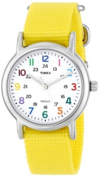 Timex Woman S T2p369 Weekender Yellow Slip Thru Nylon