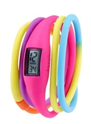 Breo Twist Unisex Digital Watch with Grey Dial Digital Display and Pink Multi Coloured Rubber Bangle B-TI-RTW3M