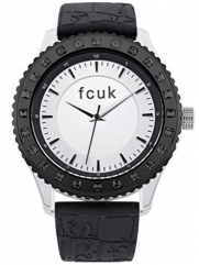 FCUK FC1160B French Connection, Ladies Black Silicone Strap Watch With Silver Dial