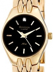 Armitron Women's 75/5197BKGP Diamond Accented Black Dial Gold-Tone Bracelet Watch