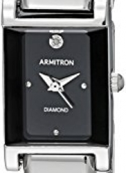 Armitron Women's 75/5322BKSV Diamond-Accented Dial Silver-Tone Bangle Watch