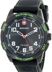Wenger Men's 70433 Nomad Compass Green LED Black Silicone Strap Watch