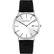 Pierre Petit Men's P-787B Serie Nizza Silver Dial Black Genuine Leather Date Watch