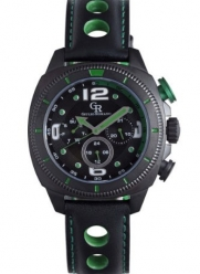 Giulio Romano Men's GR-2000-13-006 Pescara Black IP Case with Green Aluminum Pusher Black Leather with Green Lining and Topstitching Dual-Time Day-Date Watch