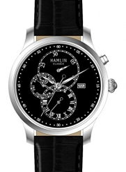 Hamlin Collection quartz movement, stainless steel, black dial, leather strap, chronograph, with date men's watch. Model number HAVM0702:00002