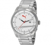 PUMA Men's PU102531005 Stripe Classic Metal Silver White Analog Bracelet Watch