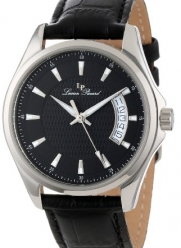 Lucien Piccard Men's 98660-01 Excalibur Black Textured Dial Black Leather Watch