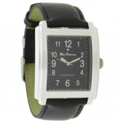 Ben Shermans Mens Watch Black Face With Silver Detail - Diamond To Face Black