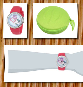 Love & Peace unisex   round stainless steel hot pink silicone strap and zotos art dial watch