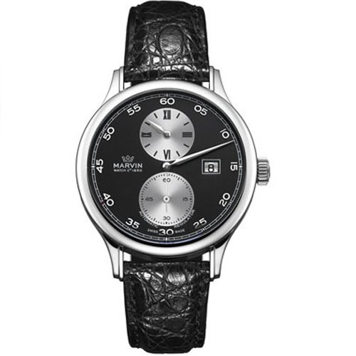 Marvin m115134474 42 stainless steel case black leather anti reflective sapphire men 39 s watch for Anti reflective watches