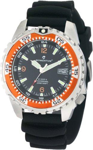 Momentum men 39 s 1m dv06o1b m1 deep 6 orange bezel polyurethane dive watch momentum momentum 1m - Orange dive watch ...