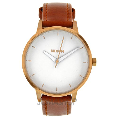 nixon quartz kensington brown leather white s