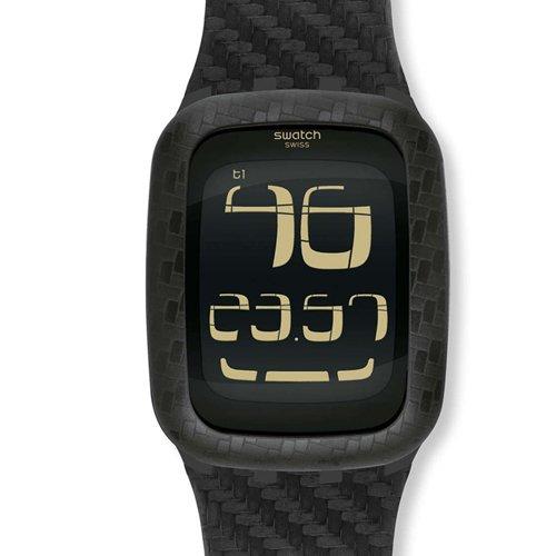 swatch carbon fever black digital mens surb110